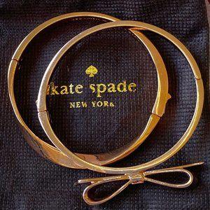 Kate Spade Rose Gold Bow Stacking Bangle Bracelets Set